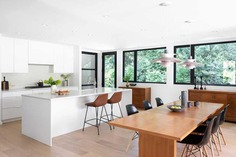 kitchen, Black Box House inspired by the surrounding coastal rainforest and mid-century design