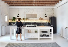 Brick Walls and Wooden Roof Structures Give Character to Barcelona Apartment #kitchen #furniture #decor #interior