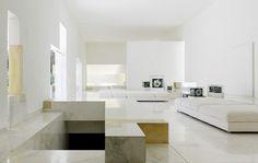 Futuristic residence white living room interior