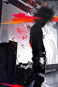Monitor by Eyeone, 2015 #eyeone #mixed media #printmaking #art #punk #goth