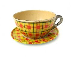 Vintage PLAID with SCOTTIE DOG Tin Cup and Saucer by sushipotparts #cup #saucer #plaid #vintage