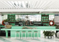 Watsons Bay Boutique Hotel   Beach Club Style   © Chris Court   Est Magazine #bar #interior #green
