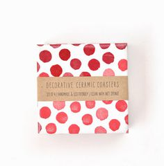 Red Dots Ceramic Tile Coasters Raspberry Watercolor Red Big Dots on White Hostess Gift, set of 4