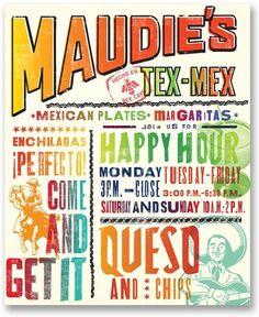 Maudies_menu_frontcover_EMBED.jpg 425×520 pixels #mex #menu #tex #identity #maudies #pentagram #typography