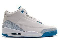 "Men Size Athletic Shoes with Features White and Harbor Blue/""Border Blue\"" (Nike Jordan III)"