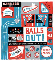 Ben Tardif illustration / Colagene.com #naïve #illustration #ink #balls #flipper #red #blue #fun