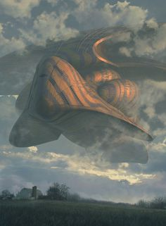'THE SIGHTING' BY STEVE BURG #art #sci fi #sky #clouds #fantasy #concept art #space ship