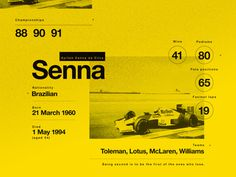 enna. A legend. My Hero. A statistic composition for Ayrton Senna, for me the best driver to ever race in Motorsport.
