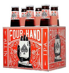 Four In Hand IPA #beer #bottle #four #card #ace #hand #package