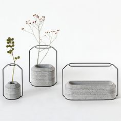 Weight Vases by Decha Archjananun #product design #container #metal #concrete #flower
