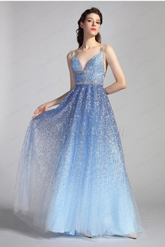 eDressit Spaghetti V-Cut Gradient Blue Sequins Party Prom Gown (00204956)