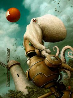 Art by Brian Despain - via The Art Of Animation #despain #bizarre #robot #octopus #illustration #painting #brian