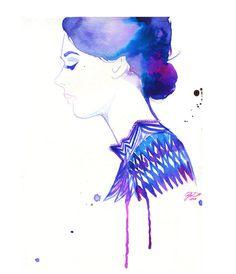 Watercolor Fashion Illustration Chevron Tunic print #acuarela #illustration #watercolor #woman
