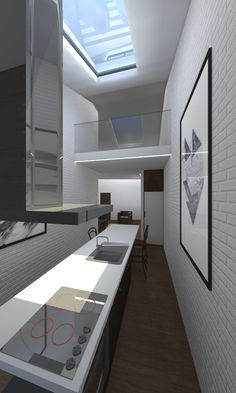 AS House #interior #white #steep #design #minimal #studio #stair #skylight