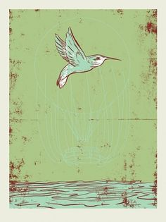 Hummingbird Balloon II | Mark Burrier #silkscreen #hummingbird #balloon #french #poster #paper