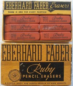 All sizes | 1940s Vintage Eberhard Faber Ruby Eraser Box | Flickr - Photo Sharing! #packaging #design #graphic #vintage