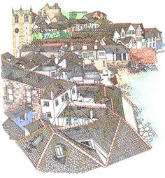 Sketch book : Travel illustrations on Behance, by rooftop illustrations by rooftop illustrations #ives #drawings #cornwall #seaside #town #st #rooftops #holiday #sketches #village