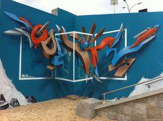 Odeith Anamorphic 3D Graffiti Lettering Praia da torre Oeiras Portugal