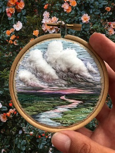 Billowing Clouds and Rainbow-Hued Sunsets Created With Textured Embroidery Thread by Vera Shimunia