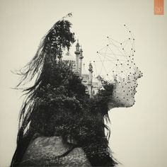 // Double exposure // Vector #illustration #portrait #inspiration #black and white