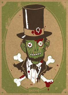 Zombraham Lincoln Print #halloween #print #illustration #poster #zombie