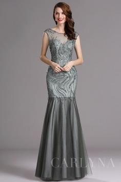 Carlyna Grey Sweetheart Beaded Sleeveless Formal Evening Dress (E60508)