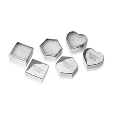 Candle Box Stainless Steel Silver Set of 3, 6cm x 4cm