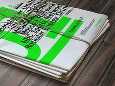 STUDIOJQ 2014 Portfolio // Newspaper #green #swiss #branding #print #portfolio #vibrant #newspaper #logo #type #layout #spot #typography