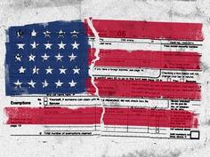 Tax Code Illustration 1040 stripes stars taxes tax flag illustration