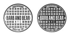 Barb and Bear Branding on the Behance Network #circle #white #branding #underground #barb #graphic #texture #black #manhole #distress #nyc #and #logo #bear #sewer #typography