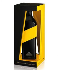 Johnnie Walker Black Label : Lovely Package . Curating the very best packaging design. #whiskey #packaging #alcohol #yellow #black #label #johnny #walker
