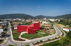 Modern Architecture With Vivid Red Coating: Casa das Artes in Portugal #architecture #modern