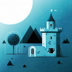 All sizes | Moon Base Camelot | Flickr - Photo Sharing! #offset #print #illustration #blue #castle