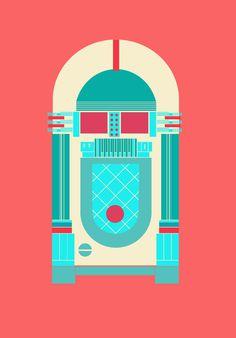 objects on Behance #graphics #illustration #retro #colourful #jukebox #yasemin yildirim