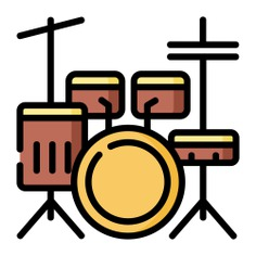 See more icon inspiration related to music, music and multimedia, drum set, cymbal, percussion instrument, musical instrument, orchestra, cymbals and drums on Flaticon.