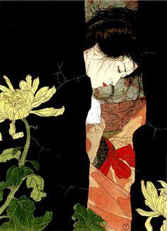 tumblr_lh0je7uNFP1qhqejyo1_r1_1280.jpg (739×1024) #woman #japanese #floral #yasunari #portrait #ikenaga #flowers