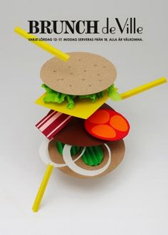 Paper burger #brunch #food #poster #collage #paper