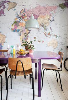 Really love the map wall #interior #design #decor #deco #decoration