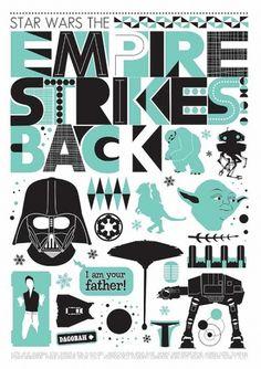 Star Wars The Empire Strikes Back Retro Scandinavian by handz #poster