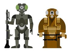 Star Wars bounty hunter illustration: 4 LOM and Zuckuss. One more to go. #illustration #wars #star
