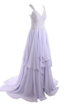 Robe de mariée moderne distinguee avec mousseline avec décoration dentelle de col en v - photo 3