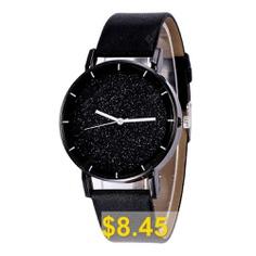 Fashion #New #Design #Creative #Sparkle #Large #Dial #Leather #Quartz #Dress #Watch #- #BLACK