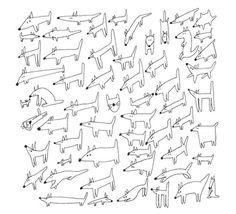 a doogle doodle #doodle #white #and #dogs #cat #black #illustration #leriquiqui #art #pen #animals #drawing #dog