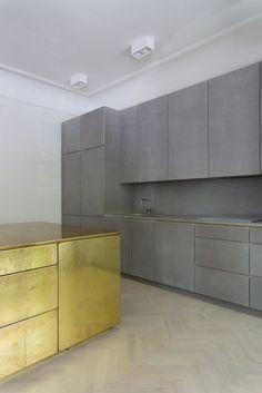 Gold & Gray Apartment by Richard Lindvall. #kitchen #minimal #richardlindvall