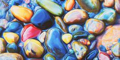 Not Your Average Drawing of a Rock: Colorful Riverbeds Drawn with Pencil by Ester Roi #water #realism #paint #illustration #rocks #pebbles #painting #colour #beauty