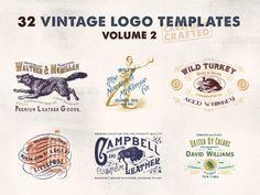 https://creativemarket.com/justliviu/594403-32-Vintage-Logo-Templates-%28Vol.-2%29 #logo #vintage #retro #bedge #insignia #premium, #logopac