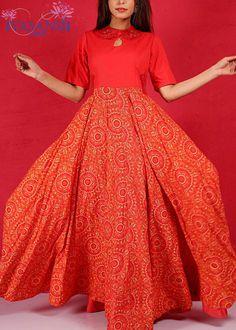Vasansi Red Cotton Anarkali Tunic