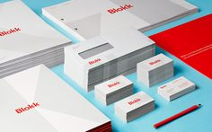 Blokk 05 #red #business #branding #stationary #card #neat #identity #envelope #collateral #blue