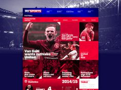 Sky Sports // UI Concept #red #ux #responsive #clean #website #grid #ui #mobile #sports #football #layout #web