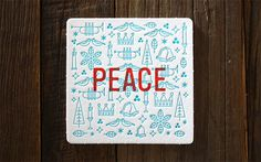 Miles Design 2013 Holiday Coaster Set #letterpress #christmas #peace #coasters